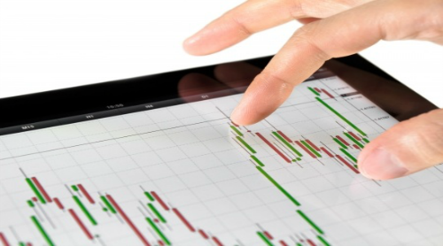 Candlestick chart on a tablet